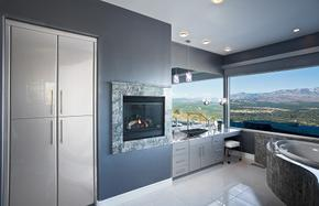 Contemporary master bath suite with a view.